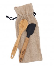 Four Roses Bamboo Kitchen Utensil Set in Burlap Tote Bag