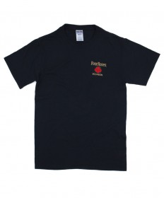 Small to X Large Four Roses Embroidered Black Tee