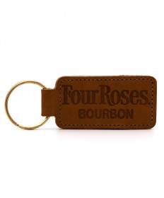Four Roses Rectangular Leather Key Fob