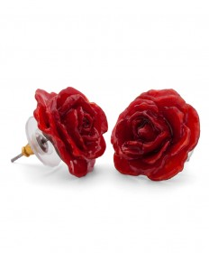 Real Rose Stud Pierced Earrings