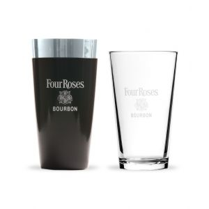 Four Roses Black Boston Style Cocktail Shaker w. Pint Glass