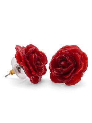 Real Rose Stud Pierced Earrings